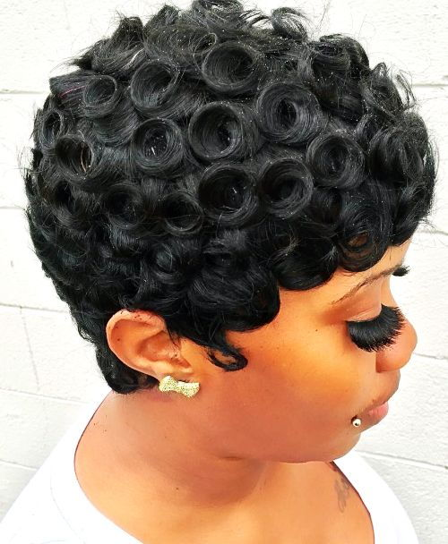 Short Hairstyles for Black Women-Pin Curl