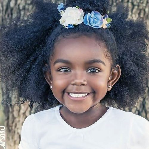 Floral Afro : cute hairstyles for black girls