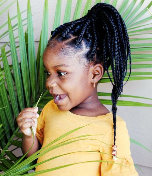 High Ponytail with Box Braids : cute hairstyles for black girls