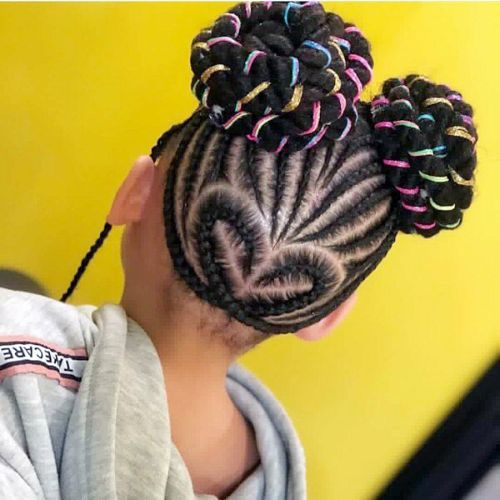 Love Cornrows with Colorful Tioknots