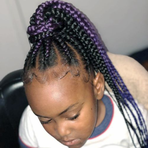 Multiple Colored Cornrows into a High Ponytail : cute hairstyles for black girls