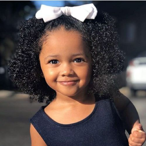 Shoulder Length Afro with White Ribbon : cute hairstyles for black girls