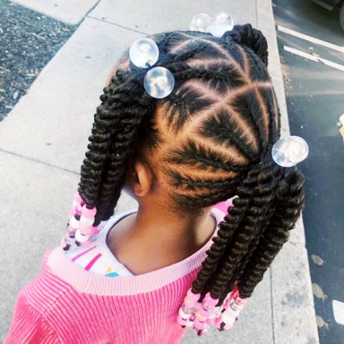 Transparent Beads + Cornrows and Twisted Ponytails : cute hairstyles for black girls