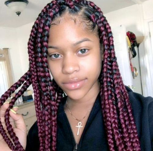Red and Black Box Braids