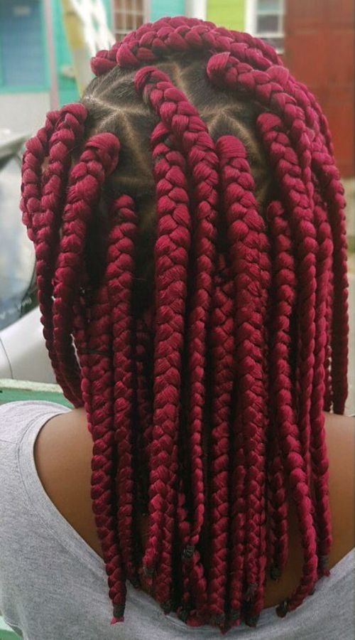 Triangular Red Box Braids
