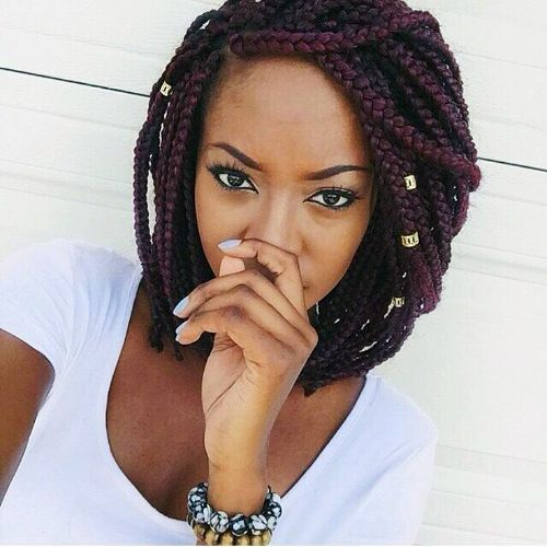 Dark Red Box Braids Bob