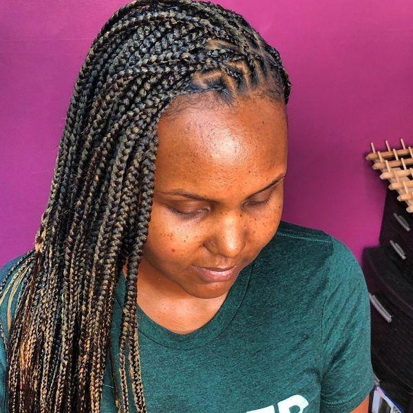Medium Box Braids for Black Women