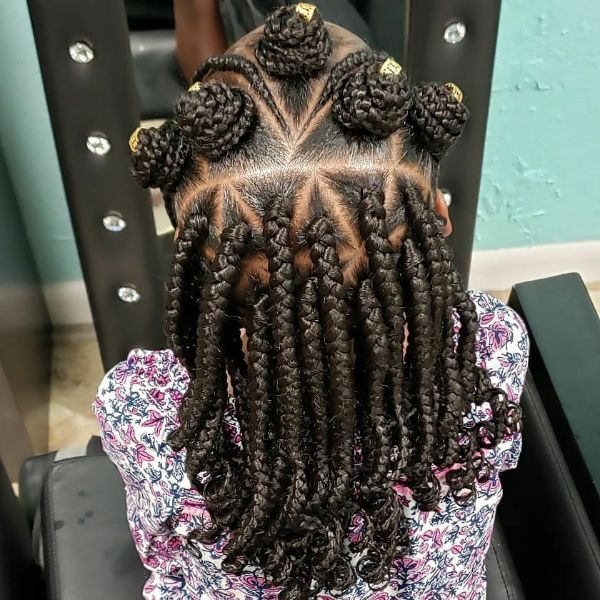 Box Braids with Bantu Knots