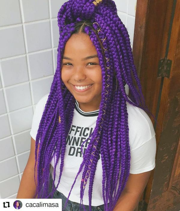 Purple Medium Box braids