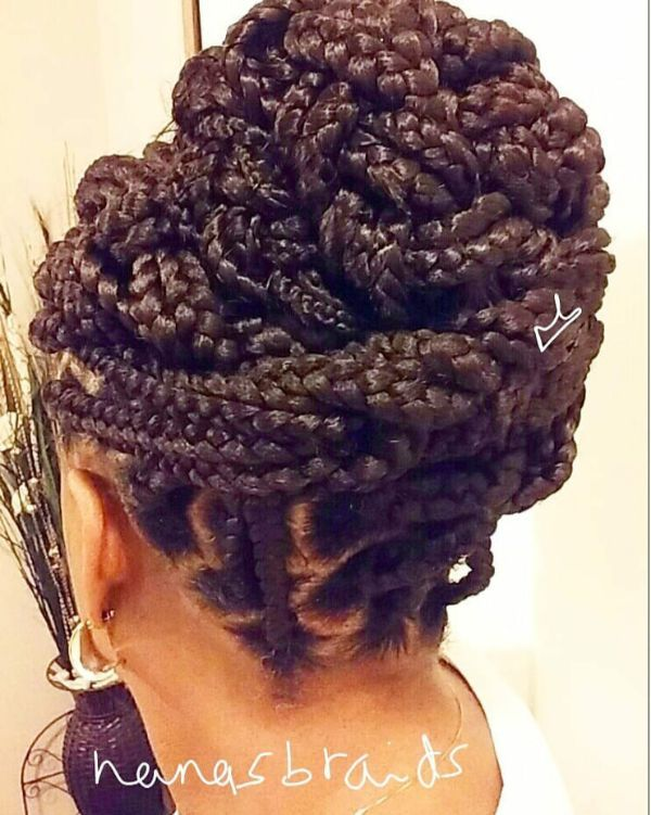 Bun with Medium Box Braids