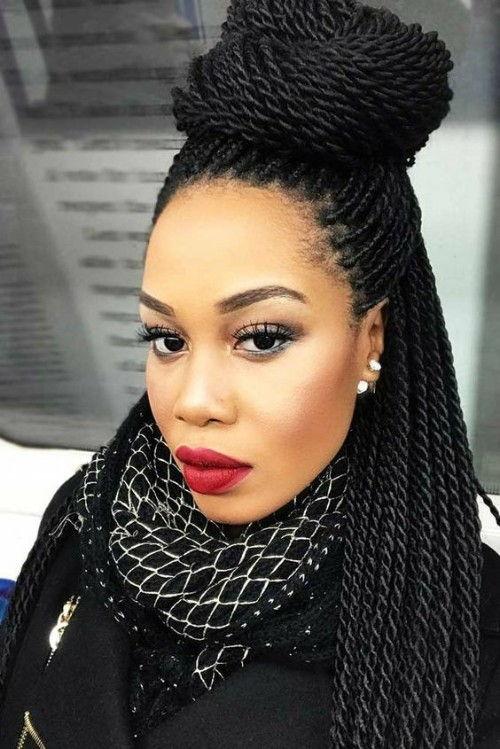 45 Sexy Senegalese Twist Hairstyles - Bun & Braids |Medium Senegalese Twists Bun
