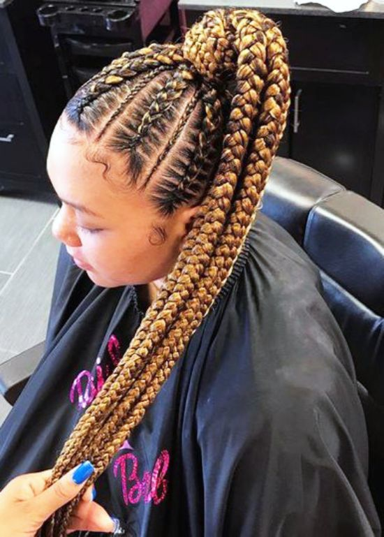 two braided golden ponytail