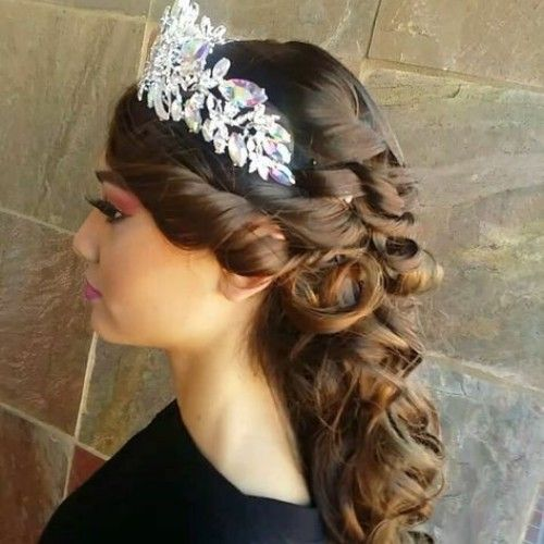 Crowned Hairstyles for Quinceanera