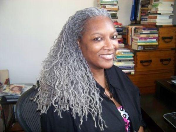 Gray Thin Locs for Aged Black Women