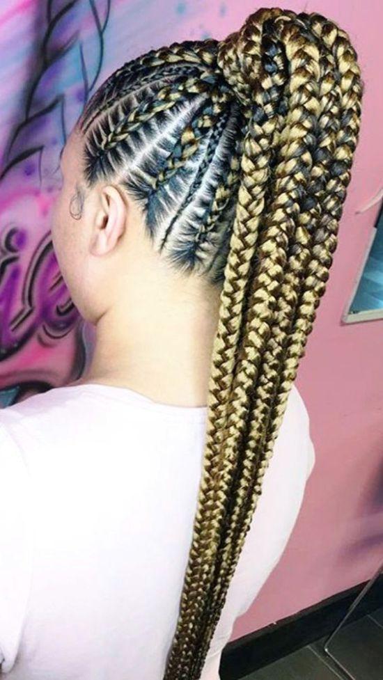 Golden-Thick-braided-ponytail