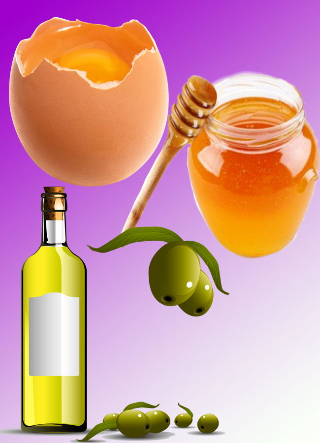 Honey Egg and Olive Oil mixture for Natural Hair Growth