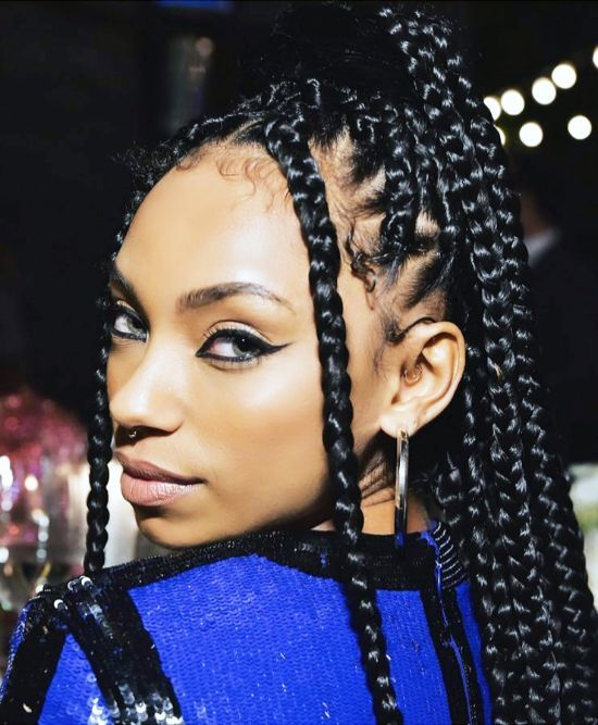 Celebrities Box Braids with Ponytail Hairstyles