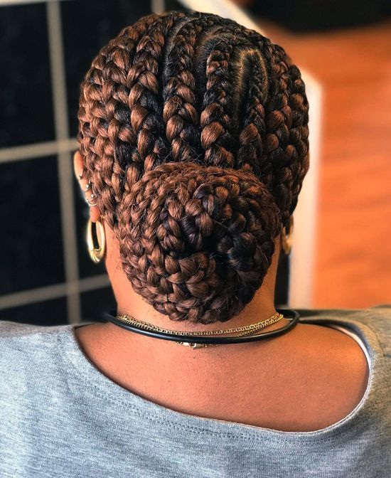 Blonde Bun with Cornrows Style