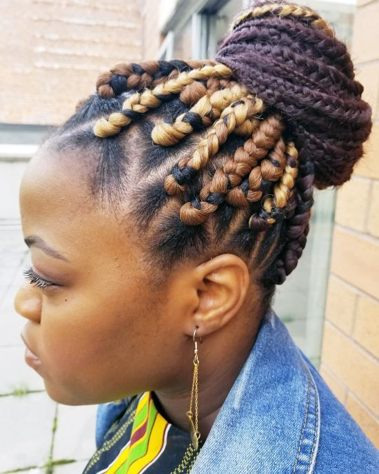 Box Braids and Bun