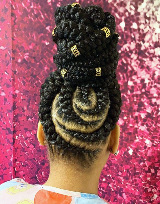 Cornrows High Bun