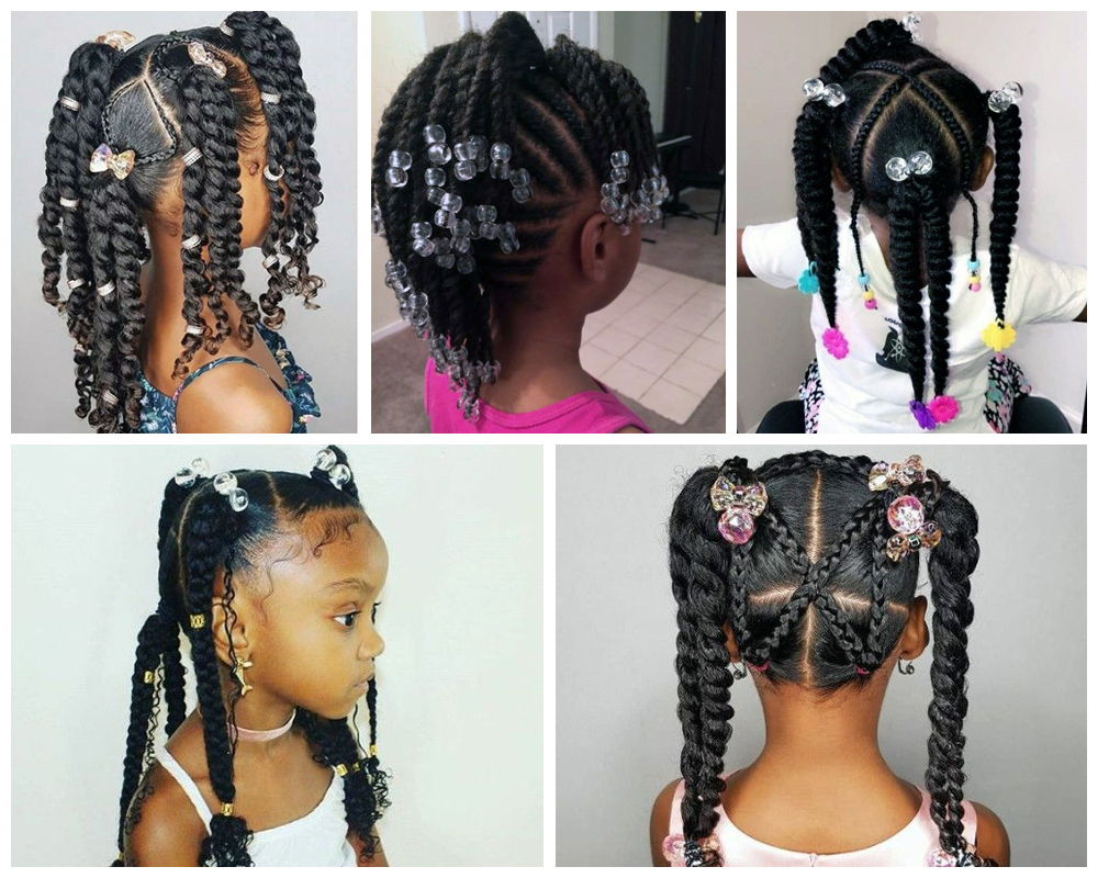 Twisted Braids with Beads for Black Kids