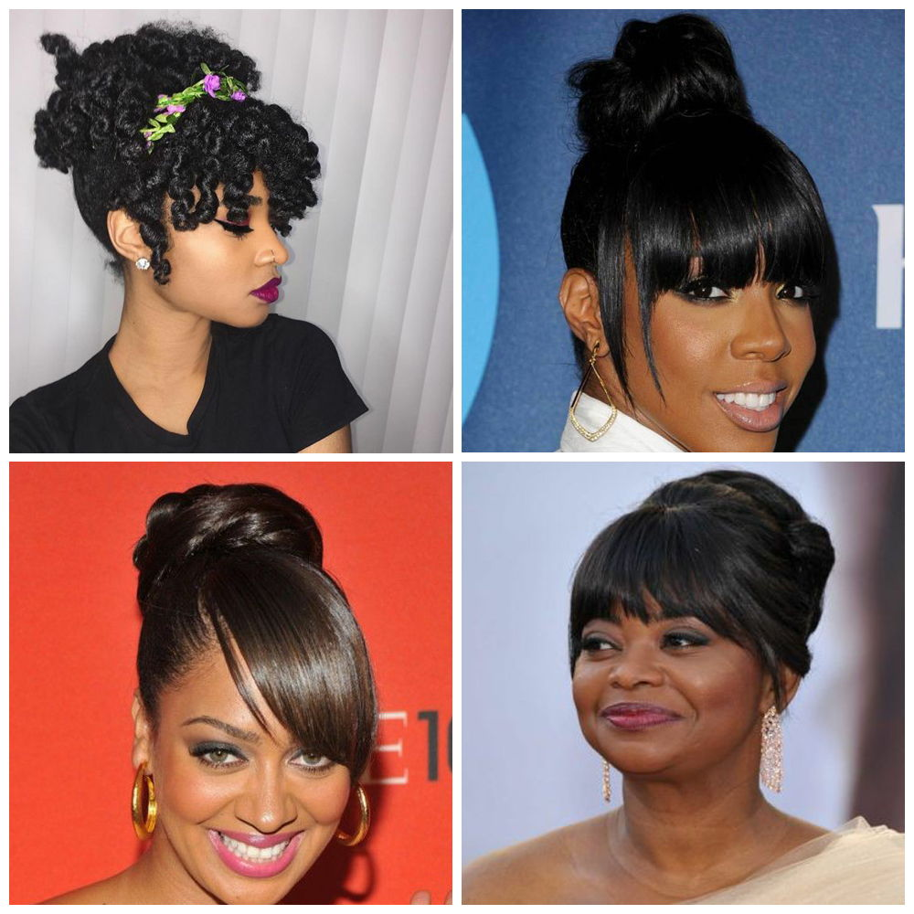 Updo Hairstyles with Bangs for Black Women