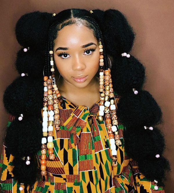 African creature puff Bubble Braids