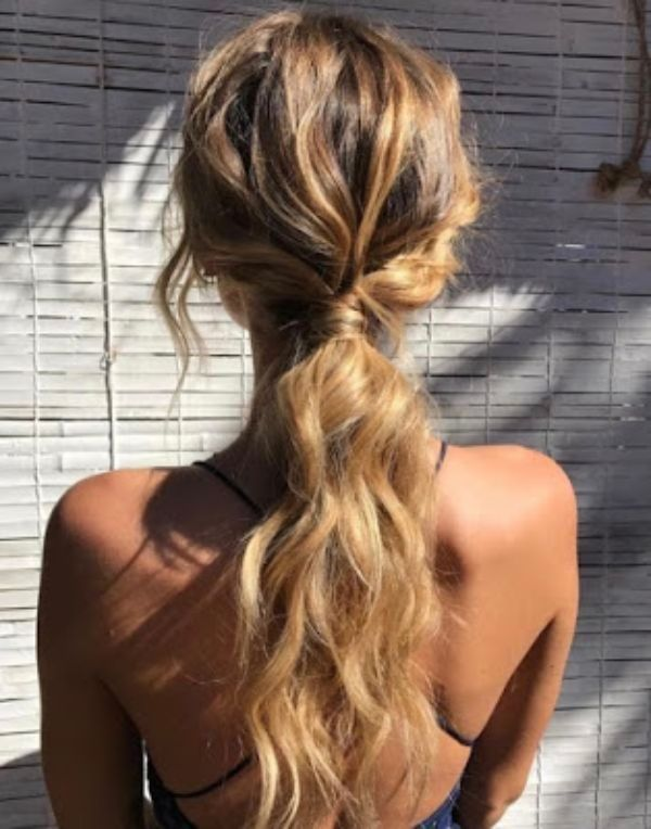 Blonde Ponytail with Beach Waves
