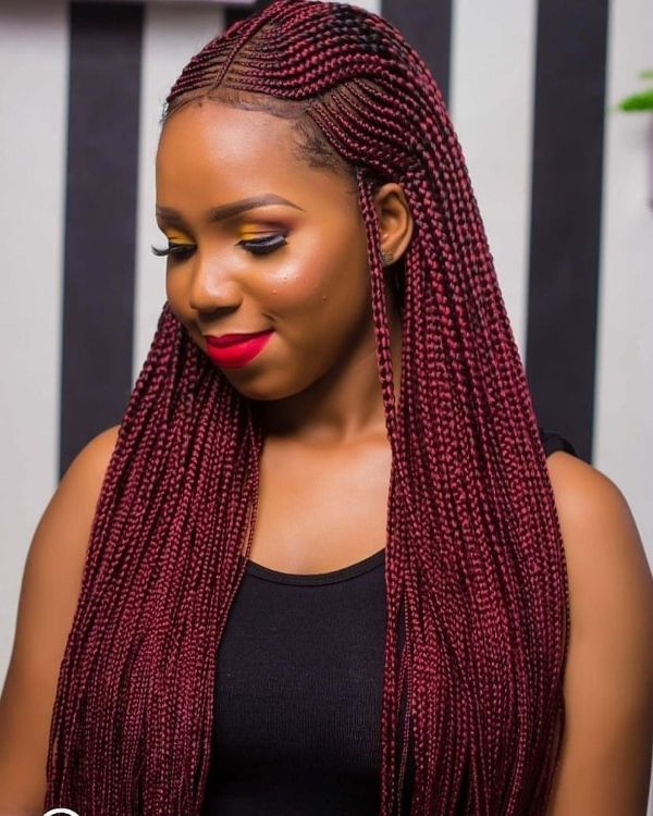 Burgundy Braids with Cornrows Pattern