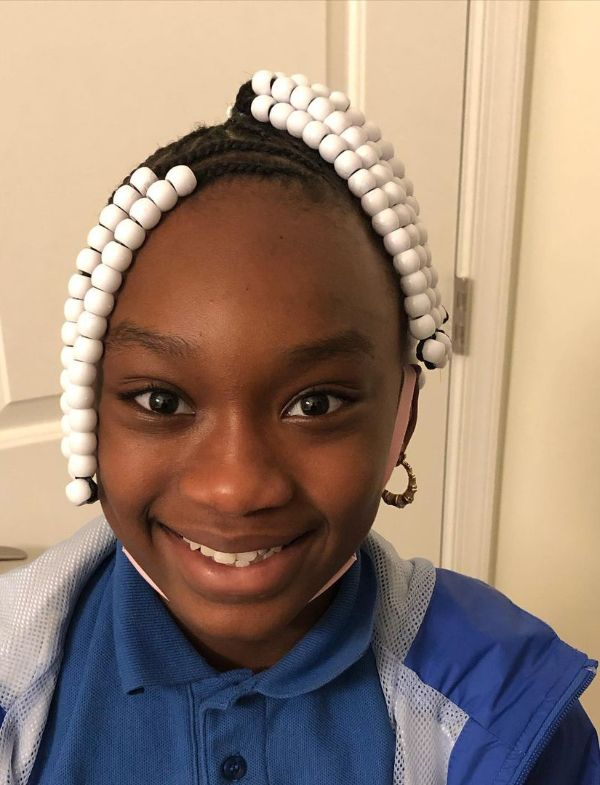 Double Ponytail with White Beads