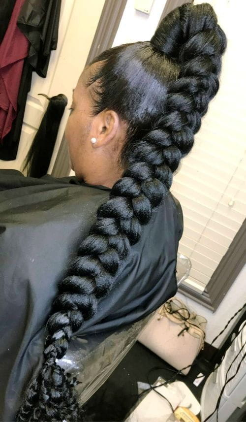 Thick Braided Ponytail with Curly Edges