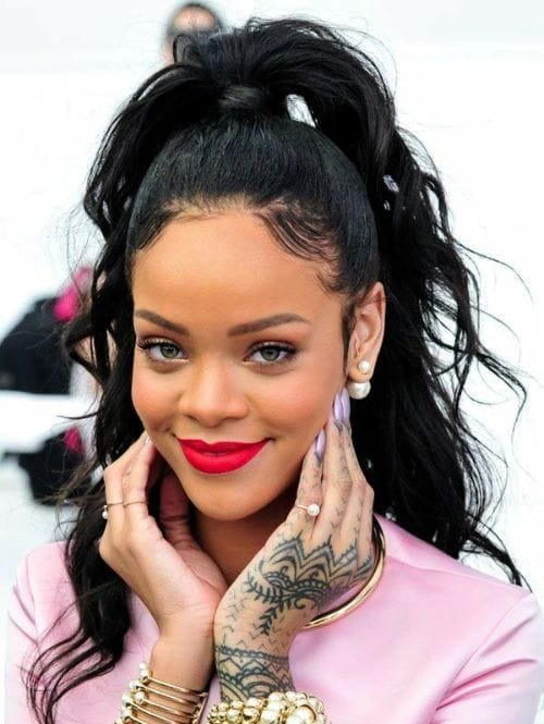 Rihanna with Her Lovely Wavy Ponytail