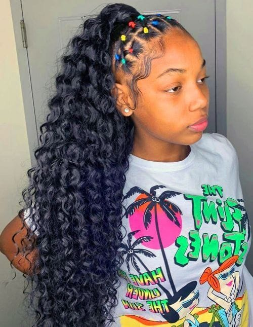 Curly Half Ponytail with Rubber Bands