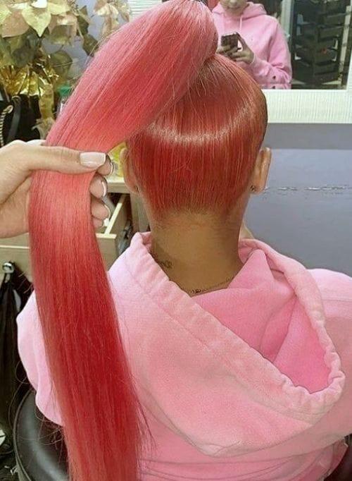 Long Sleek Red Ponytail