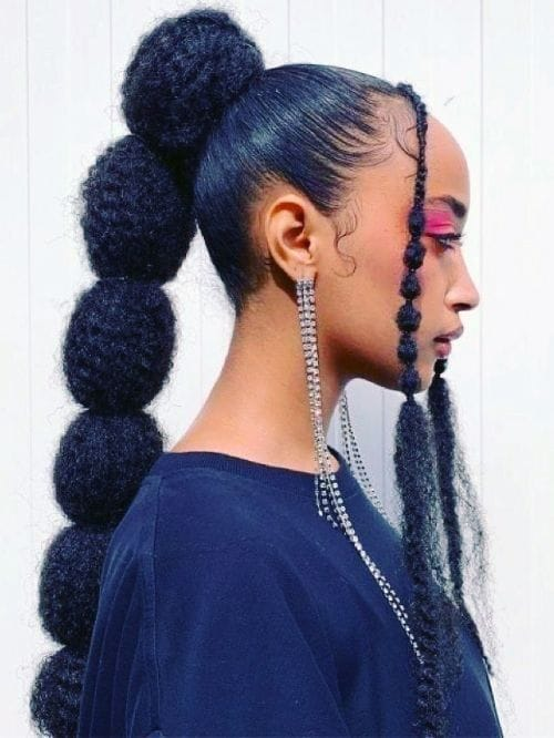 Fluffy Bubble Braids with Braided Bangs