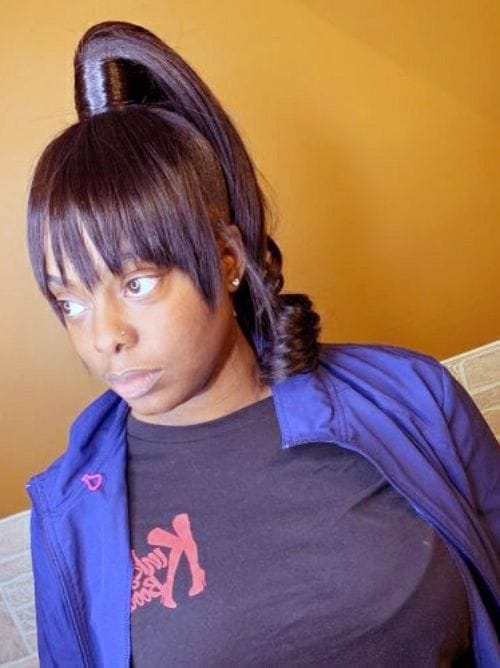 High Ponytail and Bangs for African American Women